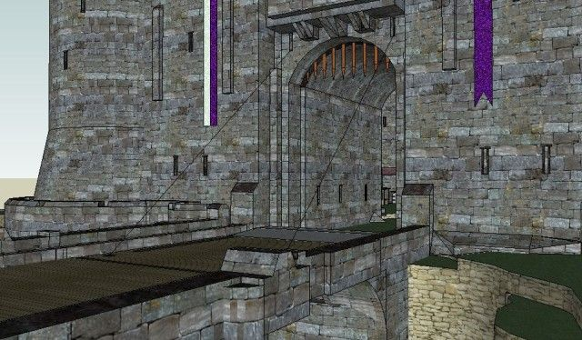 Norman castle drawbridge view 3