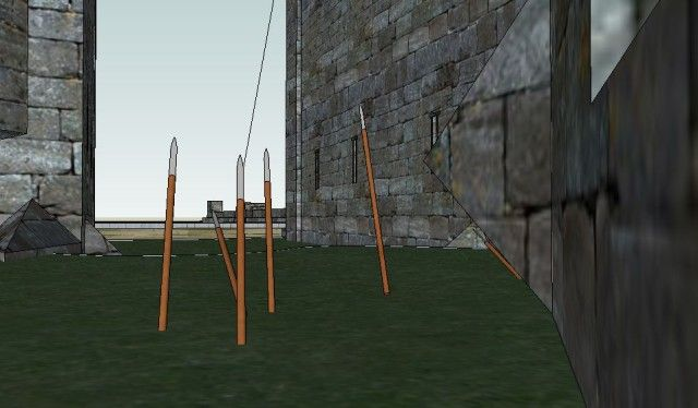 Norman castle row of stakes