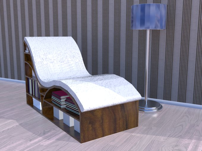 Chaise 24, striped wallpaper