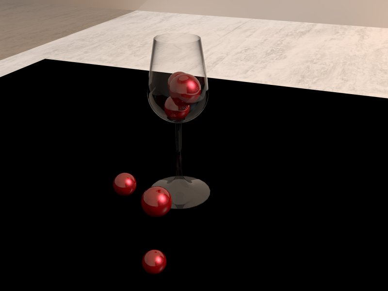 Red marbles, black table