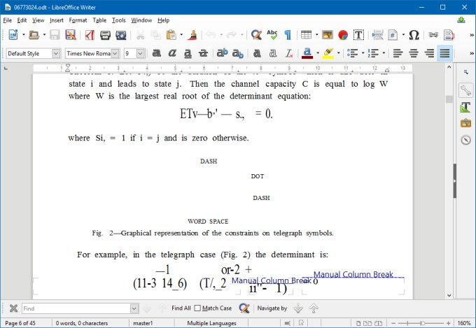 Complex document, equations
