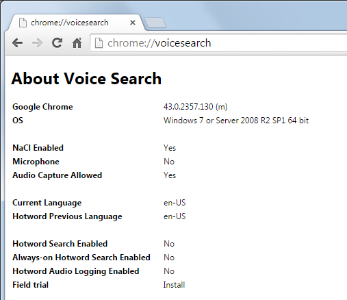 Voice search disabled