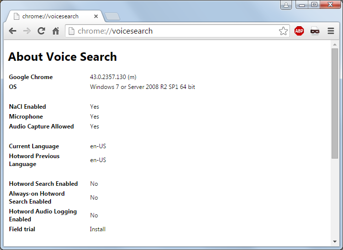 Voice search enabled