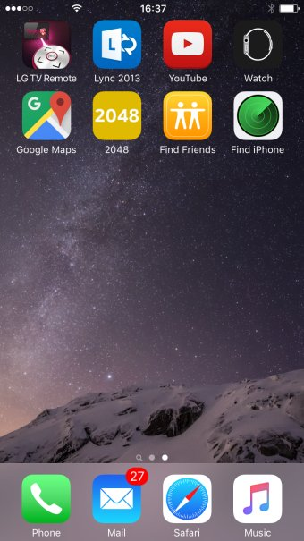 New home screen, second