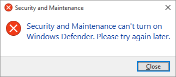 Spyware Center can't turn Defender on, good