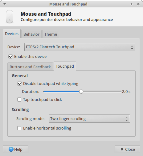 Touchpad, disable taps