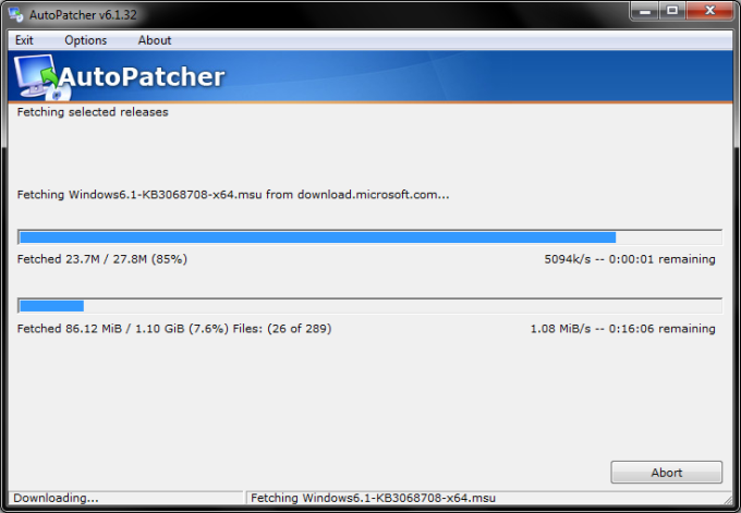 Autopatcher downloading
