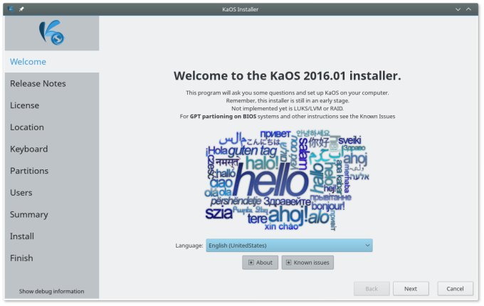 Installer, welcome step