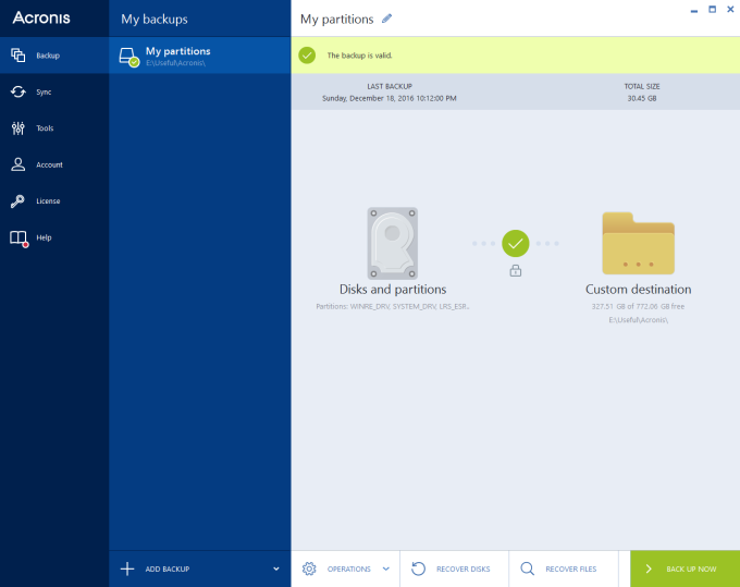 Acronis, main view