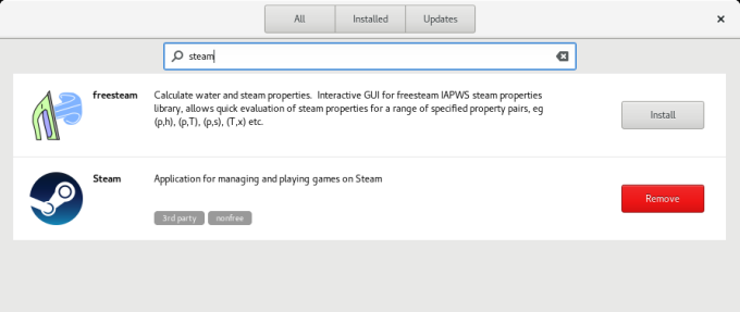 Gnome Software, Steam installed