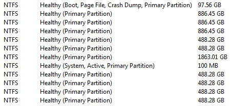 System Reserved, active partition