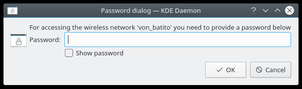 Wireless password dialog