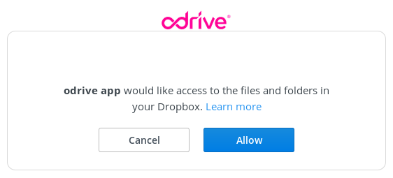 Allow access to Dropbox