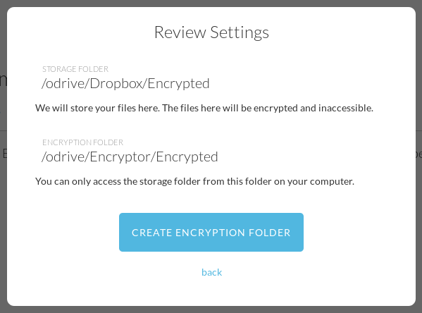 Review encryption settings