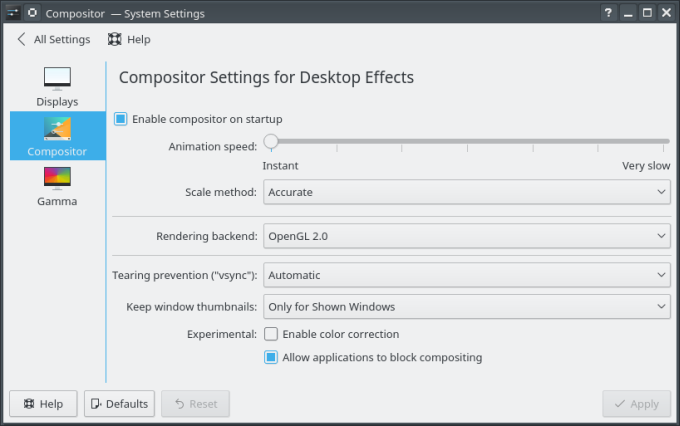 Compositor options