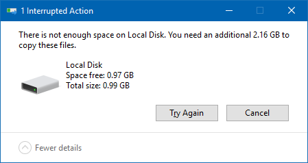 Not enough space