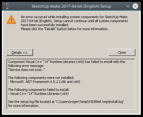 I tried to install SketchUp 2017 in Linux
