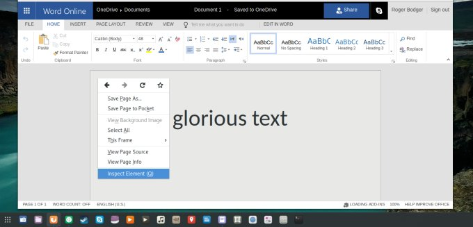 Change document background color in MS Office Online