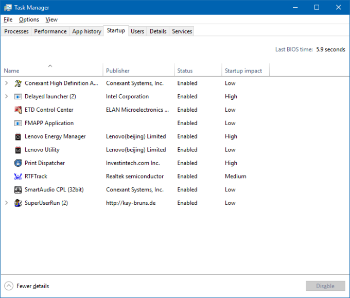Windows 10 & limited account - edit startup programs