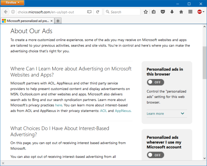 Microsoft ads, personalized, details