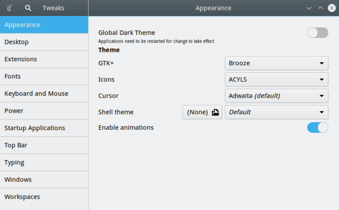 Gnome Tweak Tool