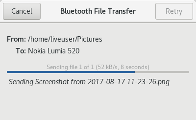 Bluetooth, sent file