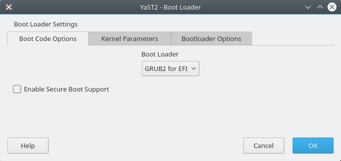 Secure boot tweak, YaST