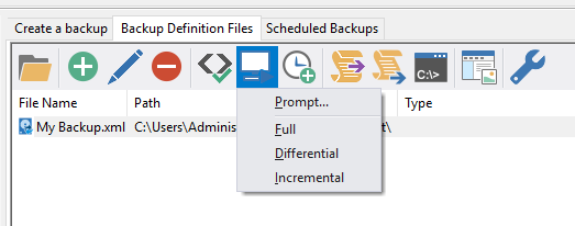 Run from def files, type of backup