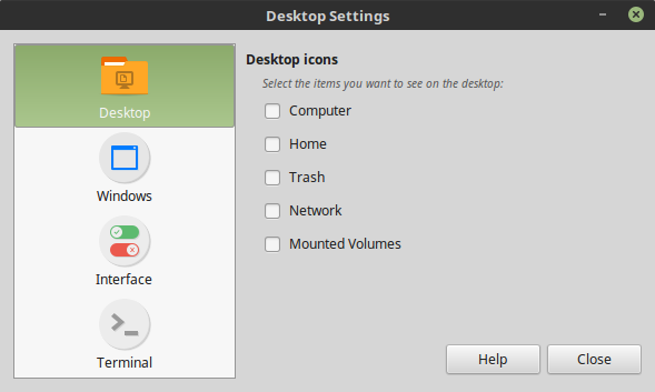 Desktop Settings tool