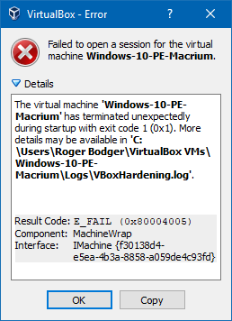 VirtualBox security hardening & WinVerifyTrust error