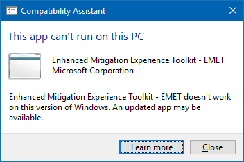 EMET cannot install anymore