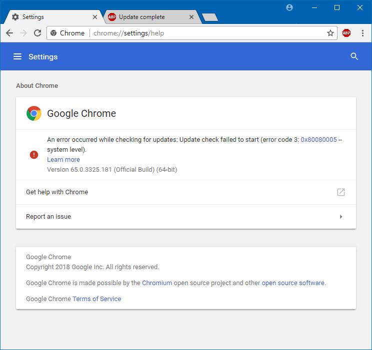 Google Chrome update problems - Solution
