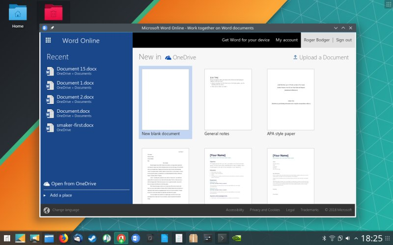 Manjaro + Microsoft Office Online - Yup, come over