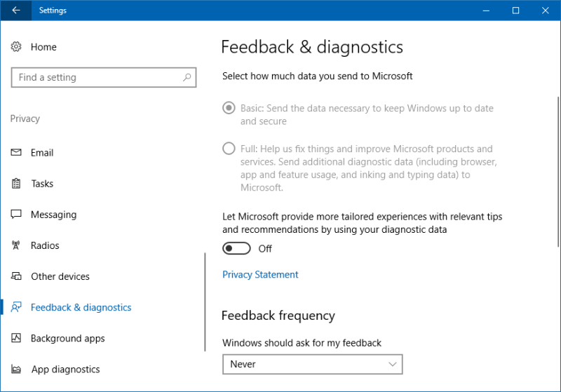 Telemetry disabled