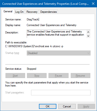 Service disabled