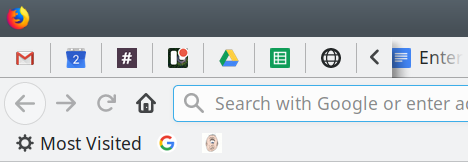 Pinned tabs, width changed