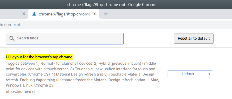 Change UI theme in Google Chrome 69