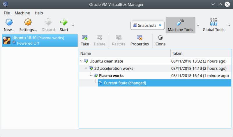 VirtualBox, 3D acceleration & black screen - Solution