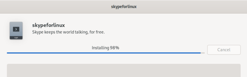 Skype, installation in progress