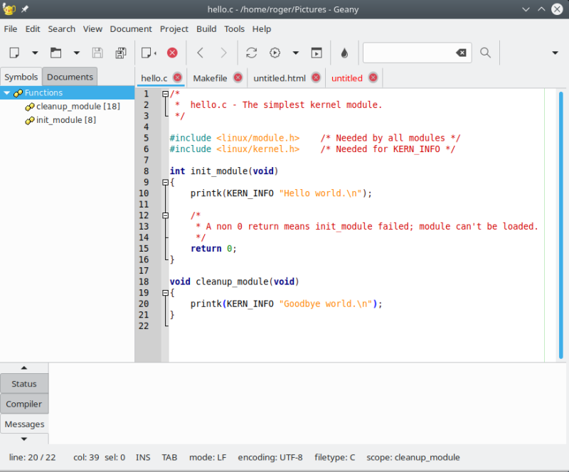 Geany text editor - a sort of genie