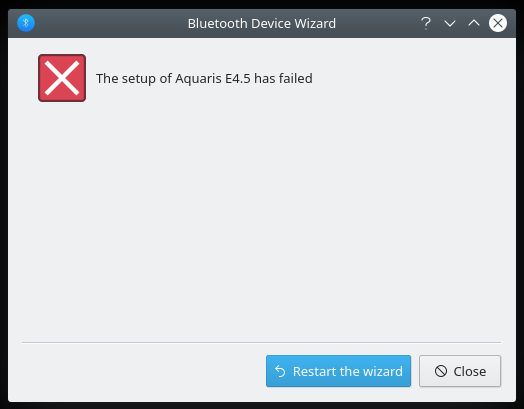 Bluetooth pairing failed