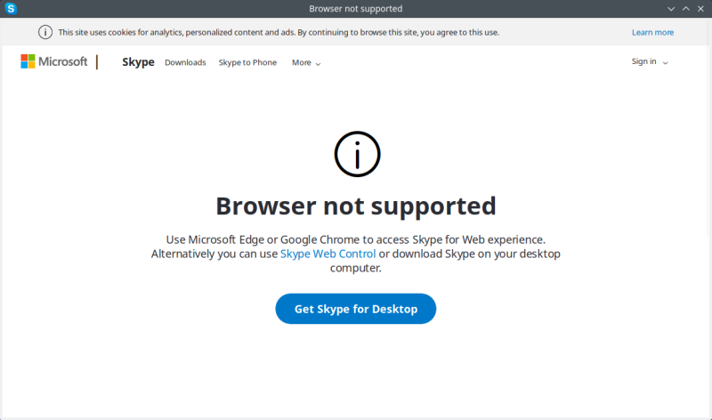 Skype web app not supported