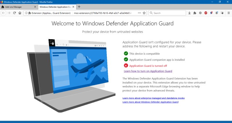 I wanted to try Windows Defender Application Guard