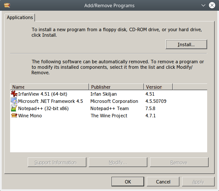 How to uninstall WINE applications