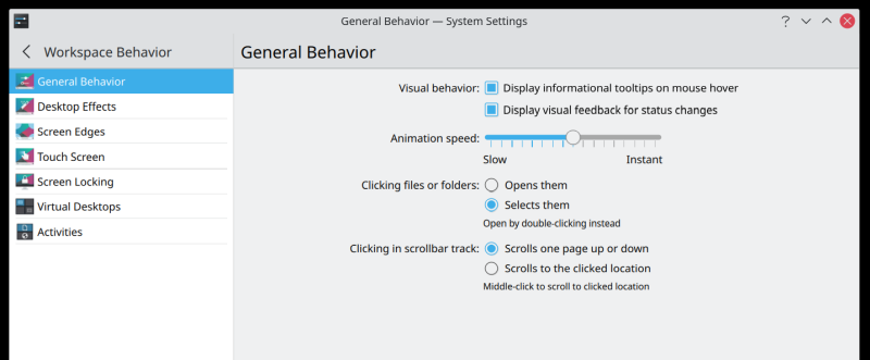 Mouse click settings