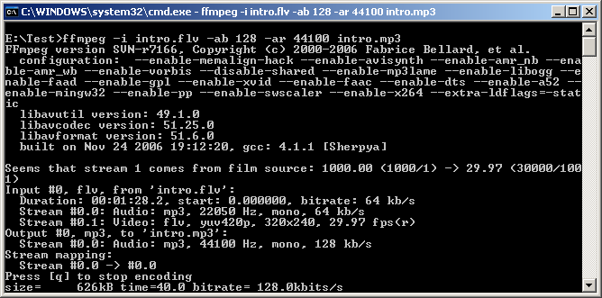 ffmpeg working