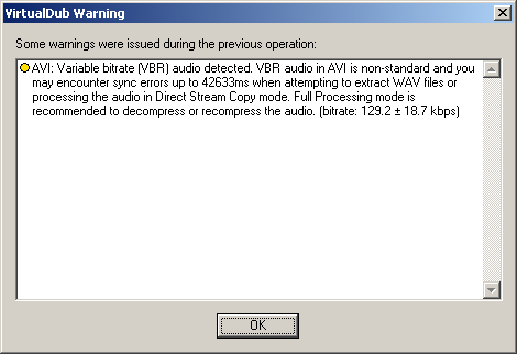 VirtualDub audio bitrate warning