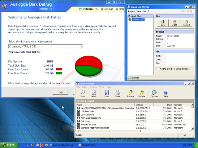 Auslogic defrag, driver backup