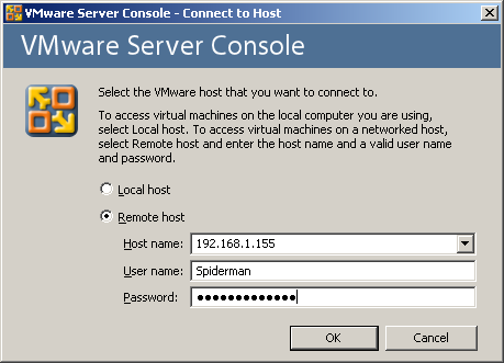 VMware remote connection example