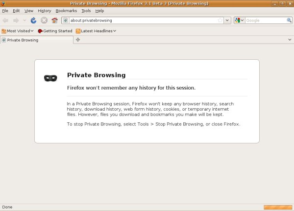 Private browsing running